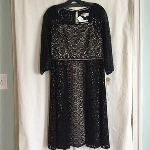 NWT Kay Unger black lace cocktail dress. Size 10